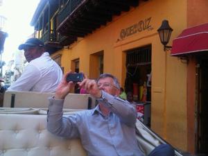 Richard Launay prepares to photograph a Cartagena sight