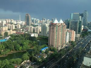 Looking down, at Tuanjie Lake Park