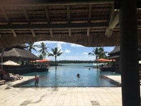 Looking from the lobby over the main infinity pool