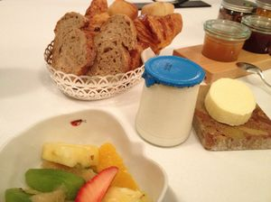 Breakfast comes with fruit, yoghurt, baked goods...