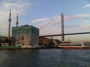 About to sail under the First Bridge of the Bosphorus
