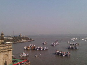 View down to Gateway to India from the Tata Suite of the Taj Mahal Palace luxury hotel in Mumbai