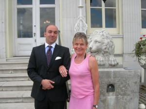 Giammario Ragnoli, general manager of Stoke Park Club, England, and Mary Gostelow