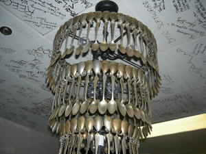 Spoon chandelier, TableOne, InterContinental Houston