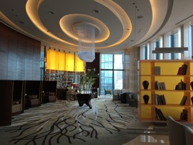 Looking along the 20th floor lobby