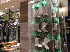 ..which has a display of plant-filled boots