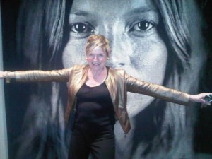 A ceiling-high photo of Kate Moss (face only) greets you at The Surrey luxury hotel in New York