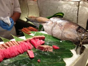 Sashimi, and a fish head