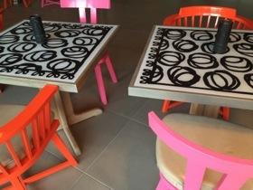 Colourful seating at K-Bar