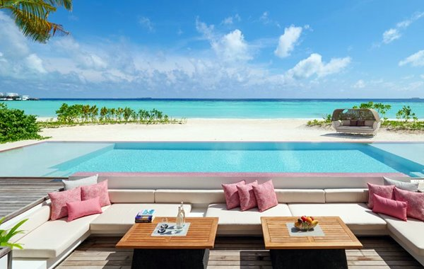 Beach Villa Twin Pool DEck at LUX* North Male Atoll double-storey penthouse residences in the Maldives