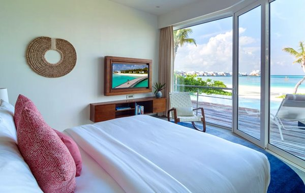 Bedroom of LUX* North Male Atoll double-storey penthouse residence in the Maldives