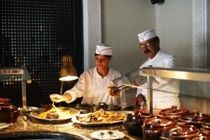 Luxury hotels and travel - One of the many buffet stations at La Mamounia