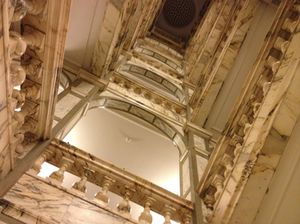 Looking up the original staircase, with some of the £40-million-worth marble in the hotel