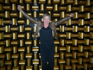 Adam Tihany apparently piled 1,516 mock gold bars to form a wall in the lobby of Mandarin Oriental Las Vegas