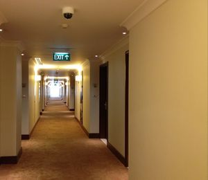 A section of the hotel's 110-metre corridor