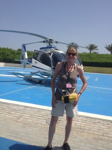 Helicopter at The Atlantis' landing pad