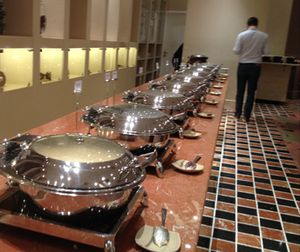 .. lookiing along a line of chafing dishes..