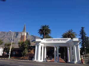 The welcome arch, Table Bay Mountain behind
