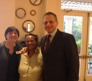 Alison Gilmore, with 30-year hotel team-member Patricia, and Xavier Lablaude