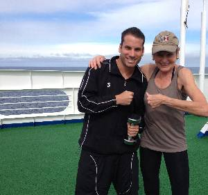 Silver Cloud's personal trainer Vlad and luxury travel writer Mary Gostelow