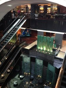 From the lobby, look at several floors of retail