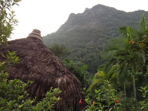 Looking over one of the thatched roofs of Banjaran Hotsprings Retreat