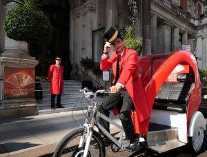 Mandarin Oriental London's personal rickshaw travels the Hyde Park area in style