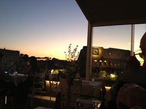 The Colosseum at sunset, from Aroma restaurant