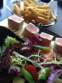 A perfect lunch, tuna salad and great fries