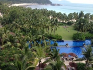 Looking down from an Anantara room