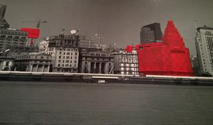 The Bund, stylised, displayed behind the concierge desk