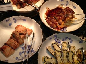 Japanese breakfast-buffet items