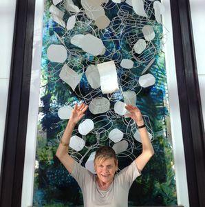 A three-D artwork in Fullerton Bay Hotel's lobby