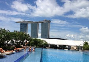 Look along its rooftop pool...