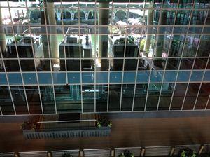 An 'artwork', the inner atrium from the fourth floor corridor