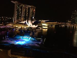 And the same view at night, as they practise colour drops