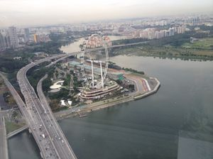 Look down at the Ferris wheel and the Grand Prix track