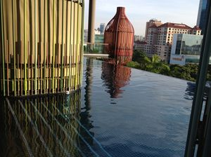 Looking out from the fifth-floor pool