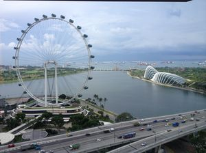 Looking out at the Singapore Flyer