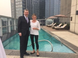Richard Deutl shows off the Presidential Suite pool