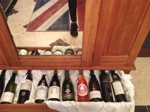 Display in the hotel's bijou wine gallery