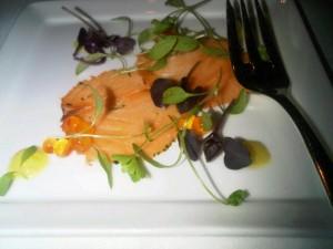 Tasmanian salmon amuse bouche at Park Hyatt Melboune