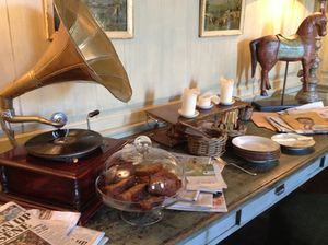 A working gramophone is among the home-like trappings