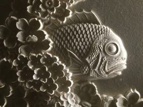 Welcome from a seabream in the elevator