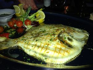 Afterwards, dinner at CIPs includes a whole turbot