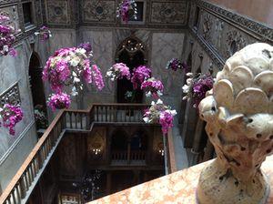 Flowers appear to float in the Daniel's open atrium