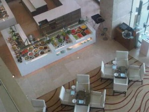 View from the rear of the main lobby own to Olea restaurant