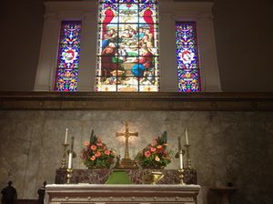 Gorgeous flowers on the altar