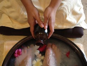 Spa treatments start with foot-washing
