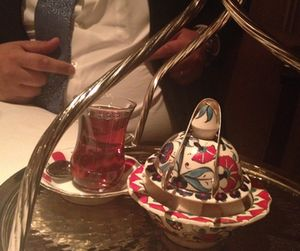 Chai, with traditional china, at the hotel's Bosphorus restaurant